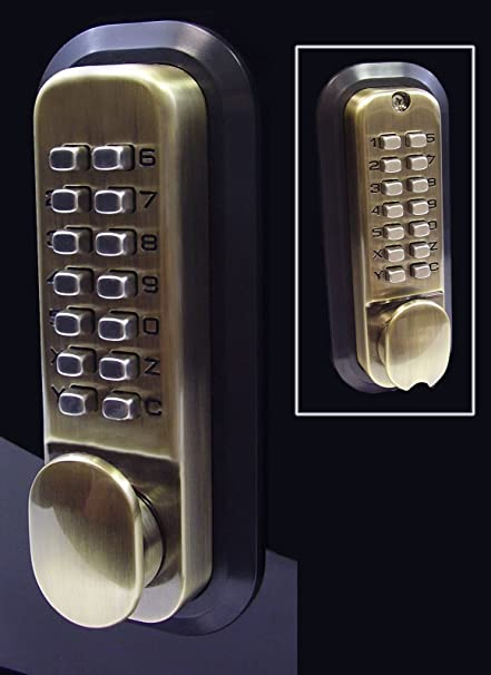 All Weather Double Keypad Mechanical Keyless Door Lock Antique