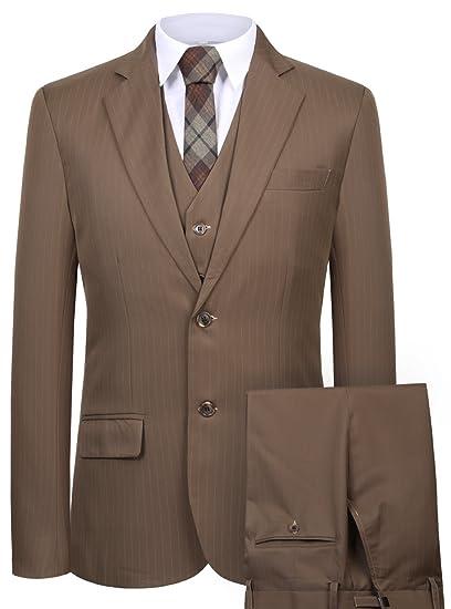 Slim Blazer Cmdc Men's Pieces 3 Suits Jacket Business Fit Stripe 354RAqcjL