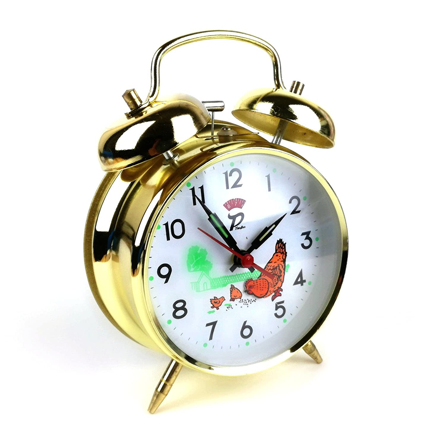 "Double bell alarm, nostalgia bell alarm, classic retro, greatest of all time, ""hen and chicks"", gold-coloured ""hen and chicks"" Starlet24"