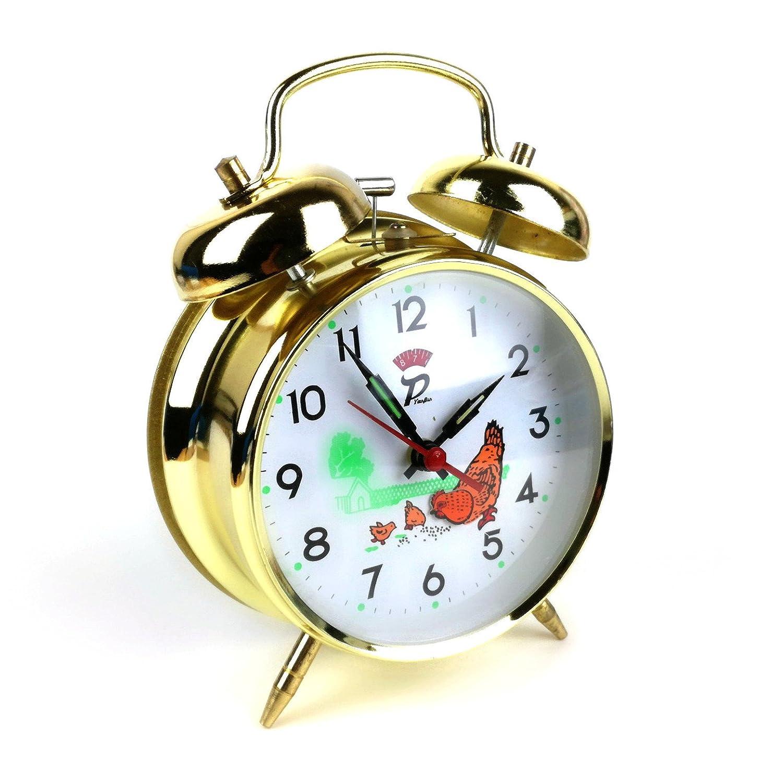 'Doppia Campana Sveglia campane nostalgia sveglia classica retro Capra pollo & pulcini dorato Starlet24