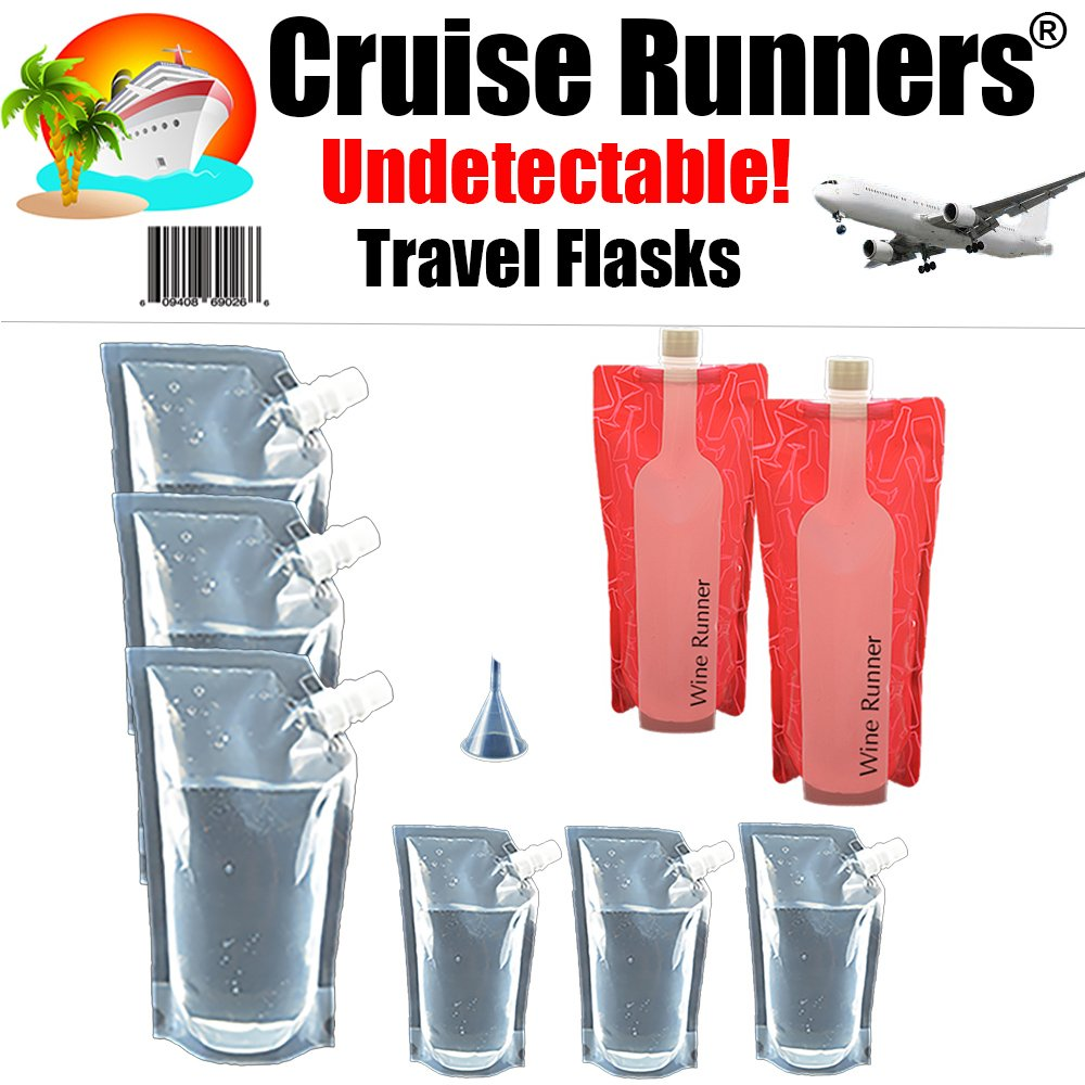 CRUISE RUNNERS Brand Cruise Ship Kit Plastic Flask 9pc. Sneak Alcohol Rum Runner Liquor Sneak Smuggle Booze Plastic Pouch Bags (3x32 oz. + 3x16oz + Travel Funnel + 2 Wine Bottle Flasks 750ml.)