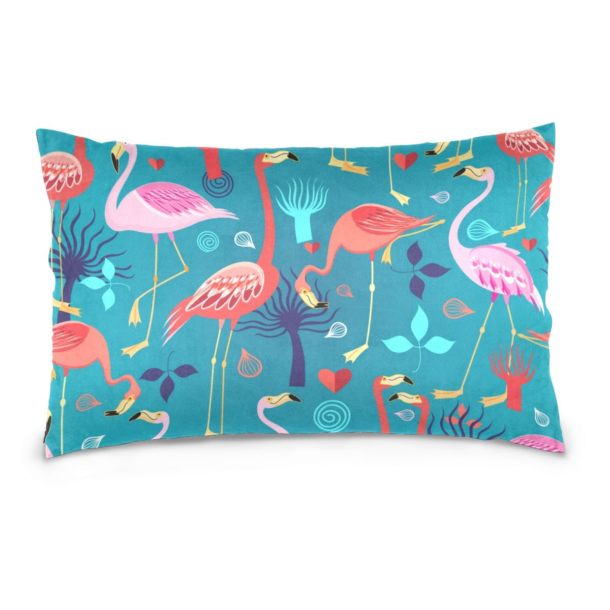 Cotton Velvet Pillowcases Flamingos Love Soft Pillow Protector with Hidden Zipper 20 x 26 Inch by My Little Nest (Image #1)