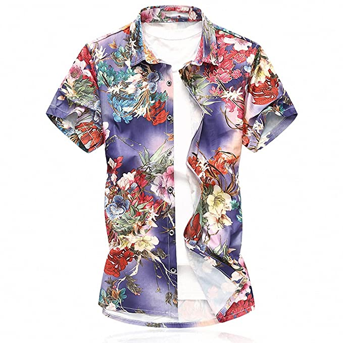 06603543453a1 Emlyn Adrian Men Short Sleeve Silk Hawaiian Shirt Men Summer Floral Shirts  Man at Amazon Men s Clothing store