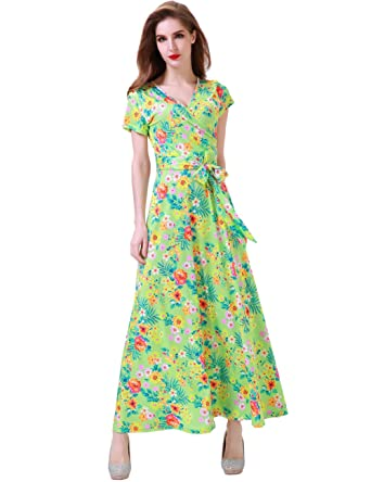 d09d1ba0bd Aphratti Women's Short Sleeve Vintage Floral Print Faux Wrap V Neck Maxi  Dress Small Light Green