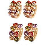 TENGZHEN 2 Pairs Jewelry 18k Gold Cubic Zirconia Stud Earrings, Hypoallergenic, Nickel-free