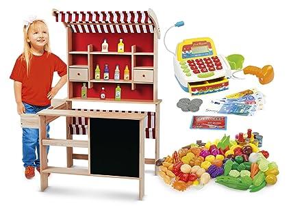 Kaufladen aus Holz Inklusive Kaufladenzubehör und Registrierkasse, Supermarkt aus Holz, Verkaufsstand mit Verkaufsregal, Fron