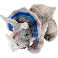 "Wild Republic 15490 Dinosauria Mini Triceratops 10"" Plush,Grey"