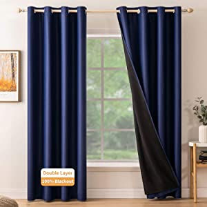 MIULEE 100% Navy Blue Blackout Curtains 84 Inches Long-Thermal Insulated,Double Layer Full Light Blocking Gromment Curtain Drapes Room Darkening Curtains for Living Room Bedroom ,2 Panels