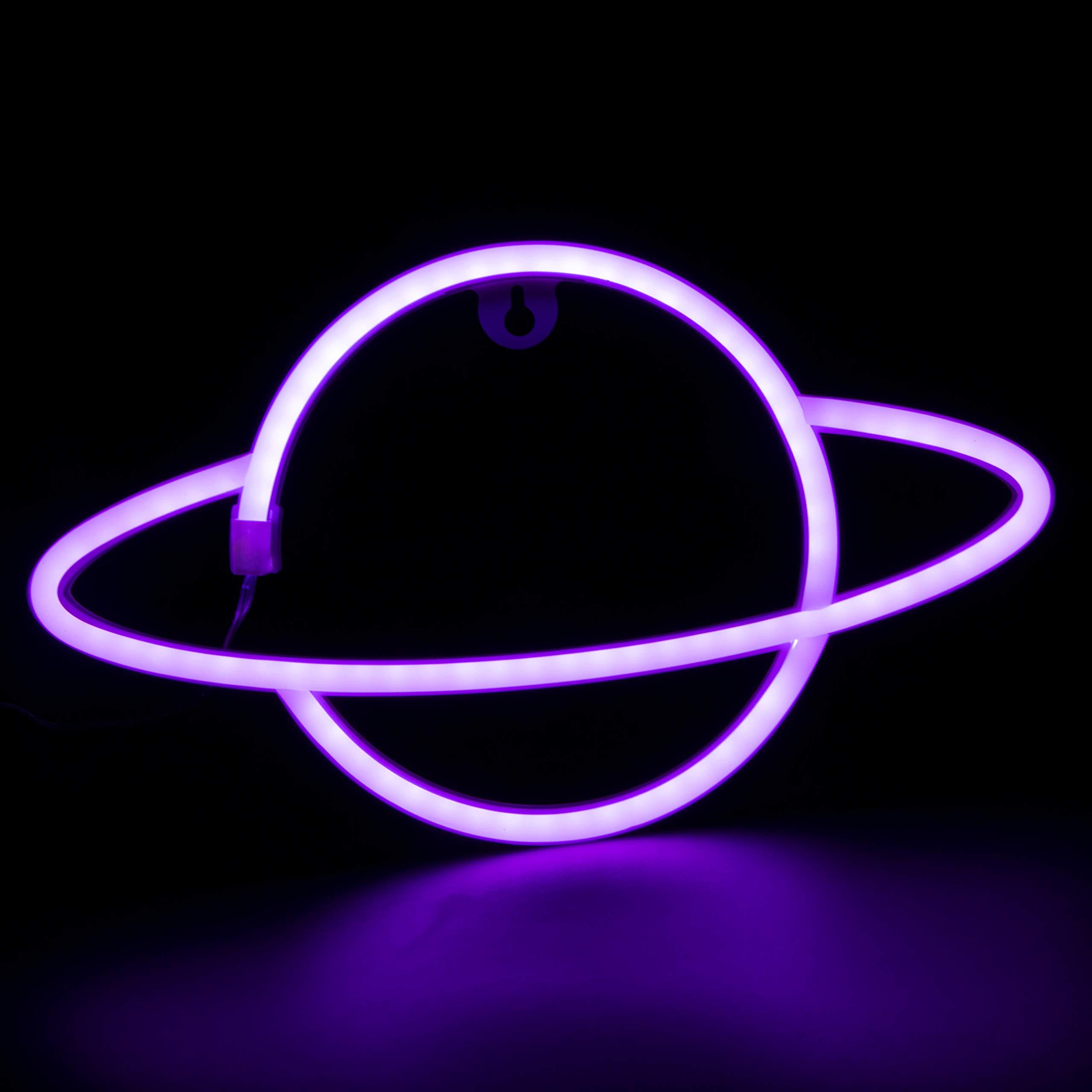 Ahirawin Neon SignsLights for Bedroom WallDecorBattery & USB Powered Aesthetic Led Neon Light for Teen Girls LivingRoom Party Decoration (Purple)