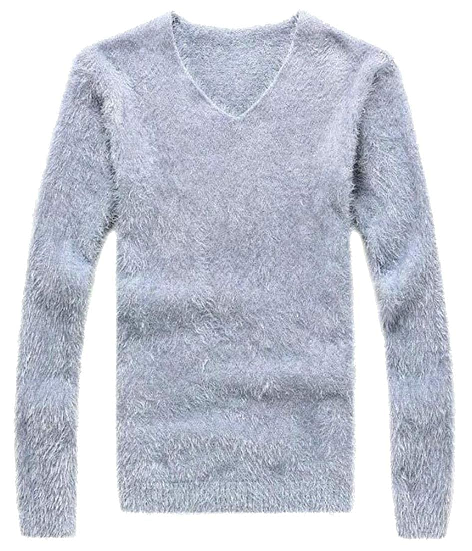 GenericMen Pullover Sweater Solid V-Neck Solid Knit Mohair Blouse