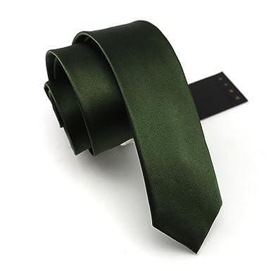 HXCMAN 6cm verde estrecha corbata 100% seda en caja de regalo ...