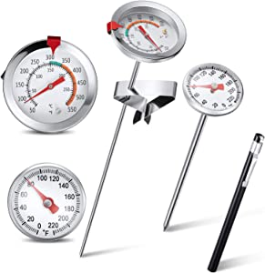 2 Pieces Instant Read Dial Thermometer Precision Pocket Thermometer with Plastic Sleeves Stainless Steel Fry Thermometer Deep Fry Food Thermometer with Metal Clip for Kitchen