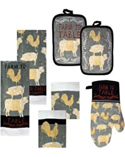 Country Theme Farm to Table Kitchen Towels, Dish Cloths, Pot Holders and Mitt ~