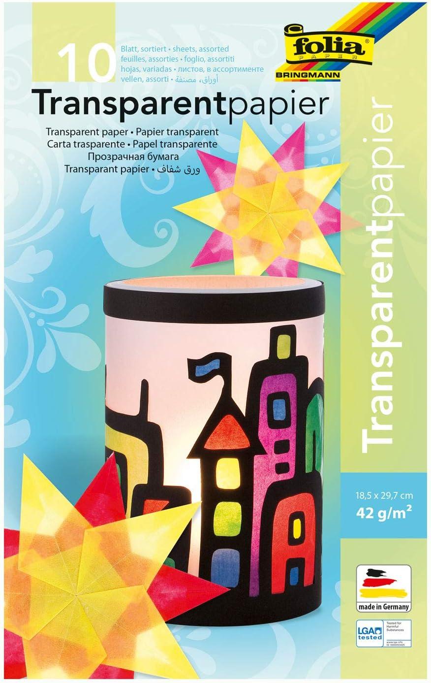 ideal zum Gestalten von Windlichtern 18,5 x 29,7 cm 42 g//qm 10 farbig sortiert ca folia 810 Fensterbildern 10 Blatt Mappe mit Transparentpapier Laternen und vielem mehr