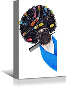 Looife Animal Canvas Wall Art, 12x16 Funny Hairdresser Dog Hair Style Pet Portrait Prints Wall Decor, Art Deco for Home and Nursery Decoration, Ready to Hang