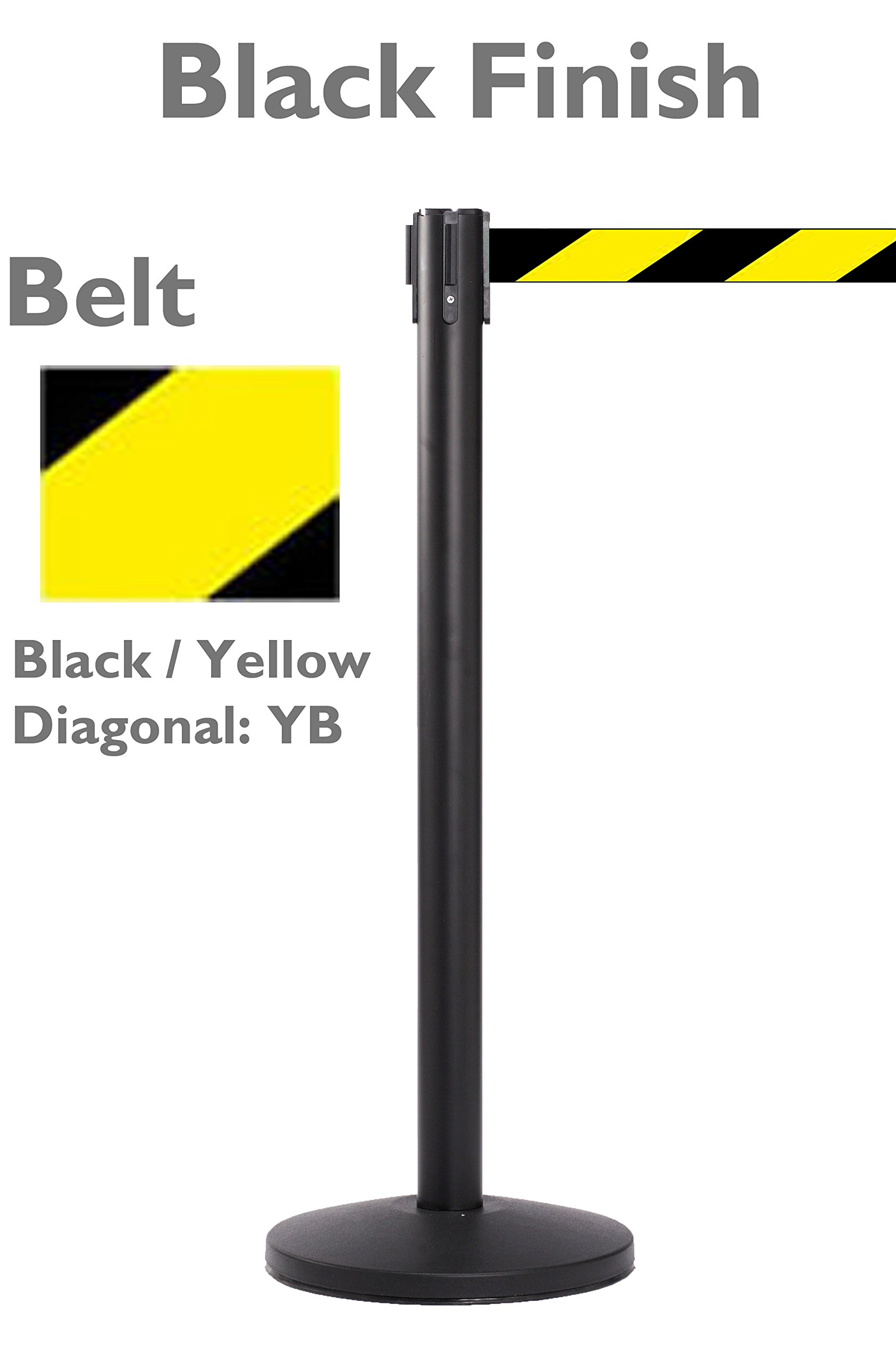 Black Retractable Crowd Control Stanchion with 11 Foot Yellow / Black Belt | 2 Stanchions Per Pack | 40'' High x 14'' Diameter Base