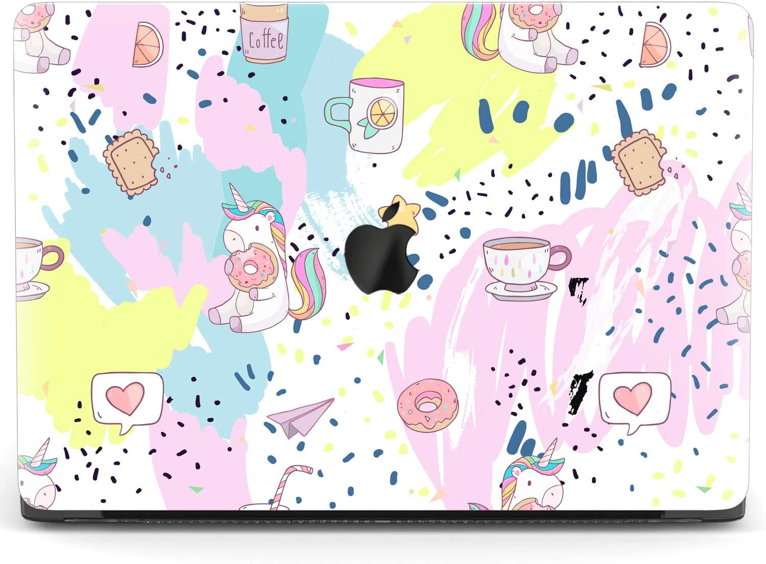 Mertak Hard Case for Apple MacBook Pro 16 Air 13 inch Mac 15 Retina 12 11 2020 2019 2018 2017 Touch Bar Print Eating Unicorn Donught Protective Clear Kawaii Cute Laptop Abstract Cover Design Plastic