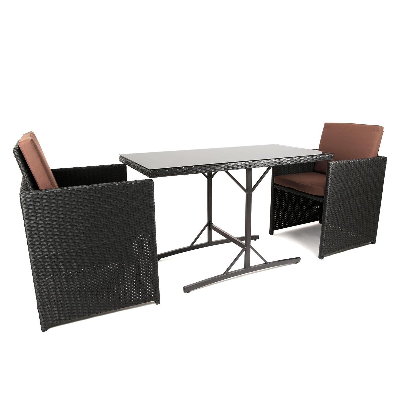 IHD Rattan Balkonmöbel Set mit Tisch und 2 Rattansesseln