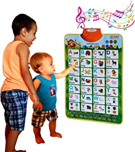 Just Smarty Alphabet Learning Toy for Boys and Girls 3 Years Old & Up. Educational Interactive Poster for Kids to Learn Letters, Numbers, Shapes, Colors, Spelling, with Games, Quizzes and Music