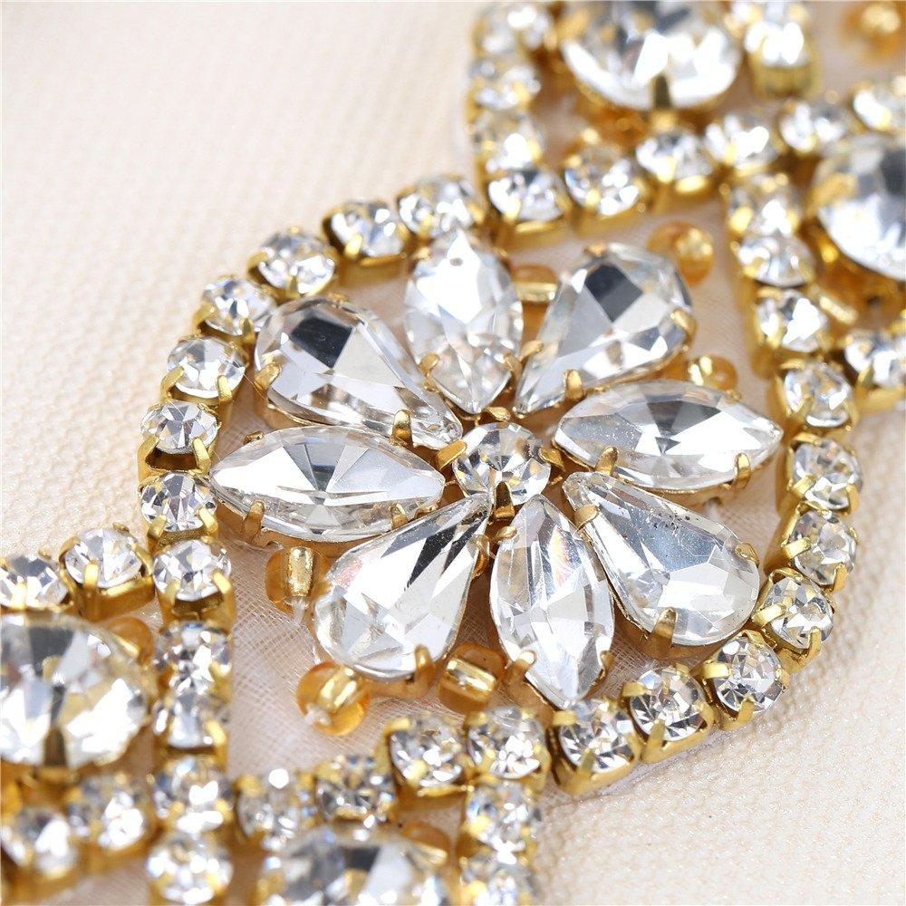 (2 piezas) Rhinestone Applique con Cristales y Perlas para el Vestido  Headpieces Bolsas Cinturon para Vestido Novia 714c9a8b2d80