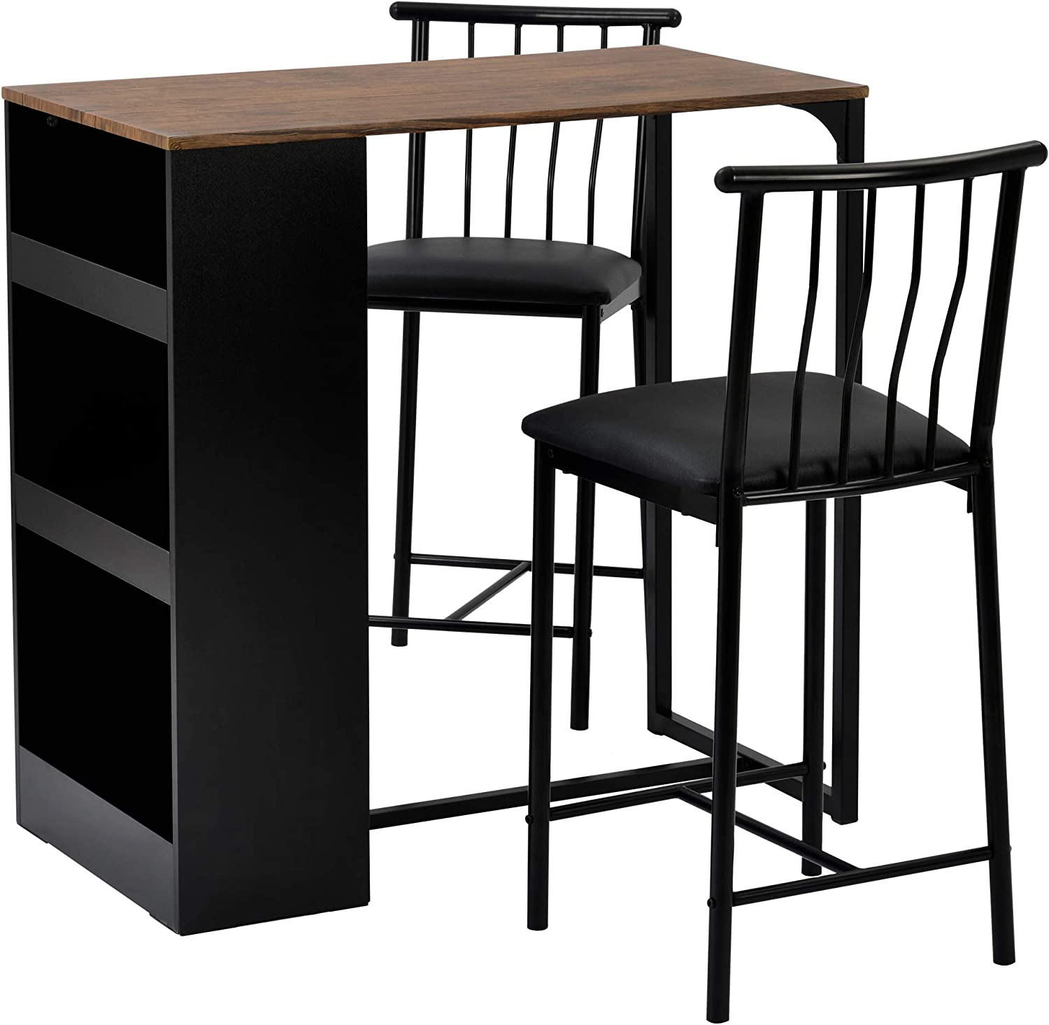 Bar Patio Canopy 3 Pieces Bar Table Set Kitchen Pub Dining Bar Table And 2 Stools
