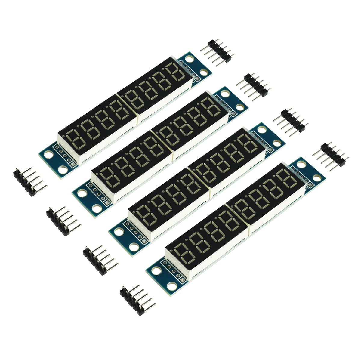 MakerFocus 4pcs 8-Digit 7 Segment Module MAX7219 8 Bit Digital Segment Tube LED Display Module Supports Cascade Eight Bit Serial 3 IO Ports for Arduino MCU/51/AVR/STM32