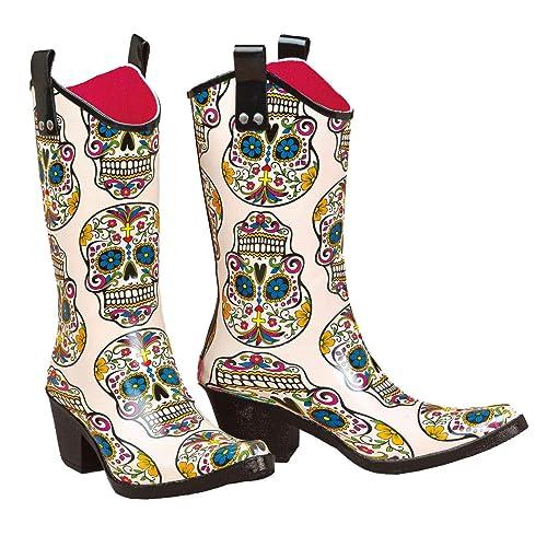 08c2cbbb232 Ladies Roxy Sugar Skull Snip Toe Rain Boot