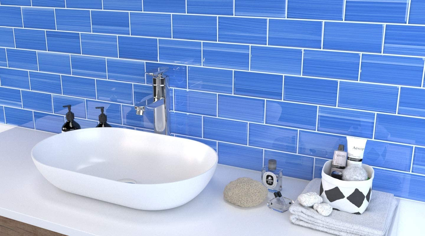 Coastline Blue Hand Painted Glass for Tile Kitchens and Bathrooms