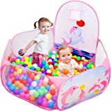 Likorlove Kid Ball Pit with Basketball Hoop 4ft/120cm, 1-6 Years Child Toddler Ball Ocean Pool Tent with Zippered Storage Bag