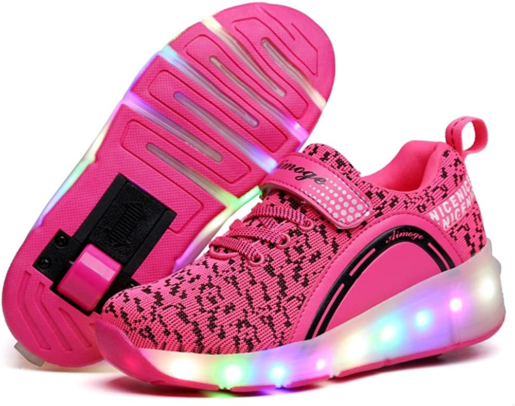 Ufatansy Uforme Kids Adults LED Shoes Light up Wheels Roller Skates Flashing Fashion Sneakers for Unisex