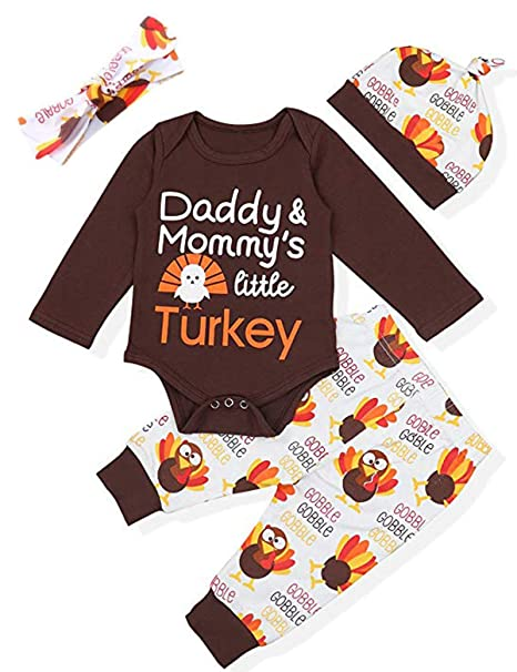 f838142c9 Amazon.com: Thanksgiving Day Outfit Set Baby Boys Girls Little Turkey Romper:  Clothing
