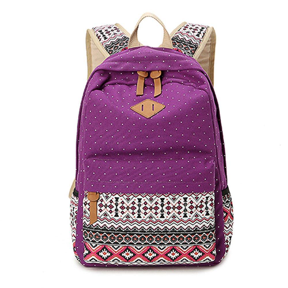 スクールバックパックfor Girls、gazigo Canvas Bookbag for College Women Teens Ladies One_Size パープル backpack kuayz06a23 B06XTD6DGF Girls Backpack Purple Girls Backpack Purple