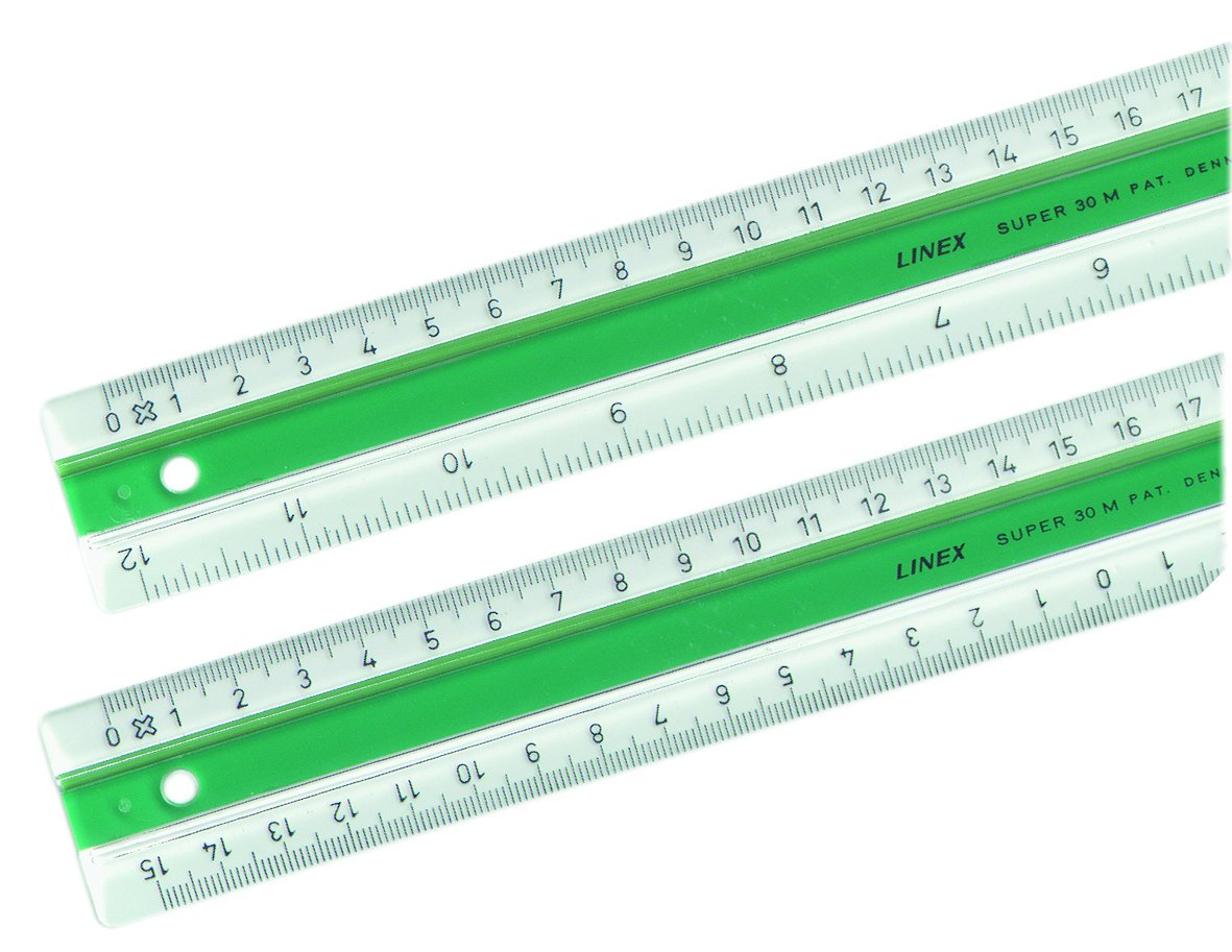 Linex 100202516 S30MM Series Super Ruler 30 cm Acrylic Scales in MM: 15-0-15 cm; with Patented Slip Protection, Transparent