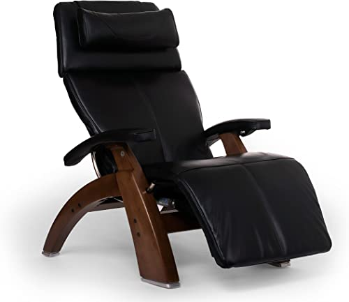 Perfect Chair Human Touch PC-610 Live Power Omni-Motion Walnut Zero-Gravity Recliner Premium Leather Fluid-Cell Cushion Memory Foam Jade Heat – Black Premium Leather