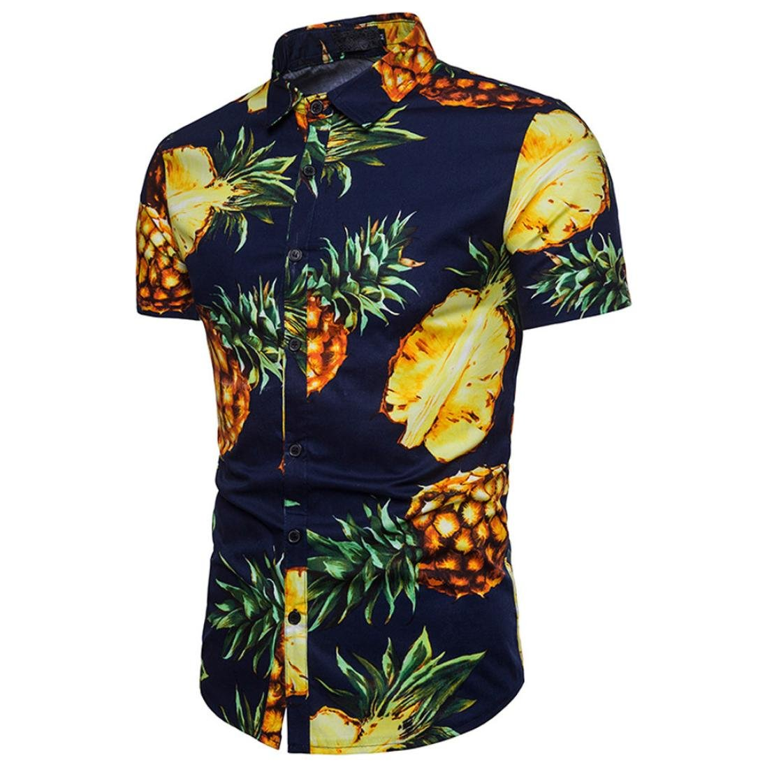 GBSELL Men's Summer Performance Slim Short Sleeve Button-Down Pineapple Printed Top Blouse (Navy, M)