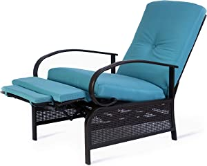 Kozyard Adjustable Patio Reclining Lounge Chair with Strong Extendable Metal Frame and Removable Cushions for Outdoor Reading, Sunbathing or Relaxation (Aqua)