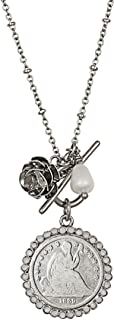 product image for American Coin Treasures Coin Necklace Pendant Rose– Genuine Seated Liberty Dime | Silvertone Saturn Style Chain and Toggle Clasp | Certificate of Authenticity