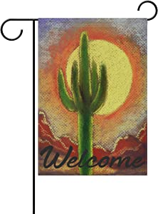 ATONO Garden Flag Welcome Cactus Canyon Desert Art in Garden Flags&Banners 12x18 Inch Party Festival Home Decoration Double Side for Yard House Seasonal Outdoor Farmhouse Vertical Polyester