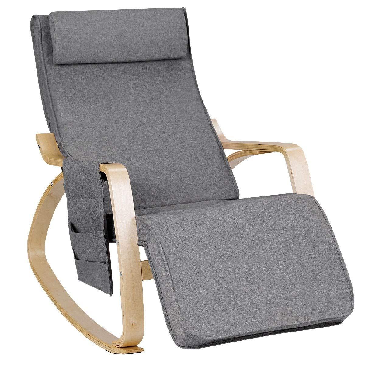 Relax Adjustable Lounge Rocking Chair with Pillow & Pocket Comfortable Armrest Backrest Adjustable Footrest by USA_BEST_SELLER