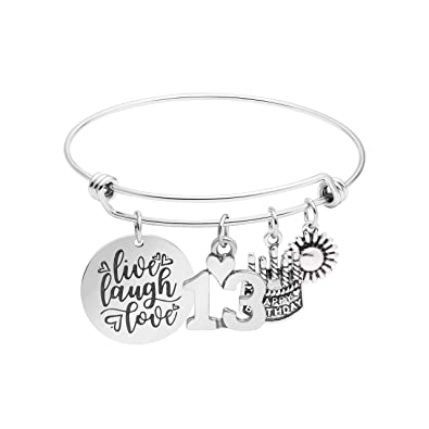 Awegift 13th Birthday Gifts For Women Girls Live Laugh Love Cake Charms Expandable Stainless Steel Bracelet