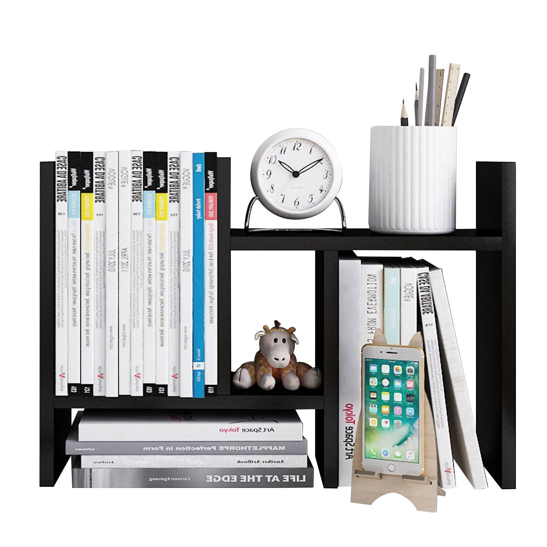 Beeiee Wood Desktop Bookshelf Adjustable Desktop Bookshelf Adjustable Countertop Bookcase Office Supplies Wood Desk Organizer Accessories Display Rack (Dark Walnut)