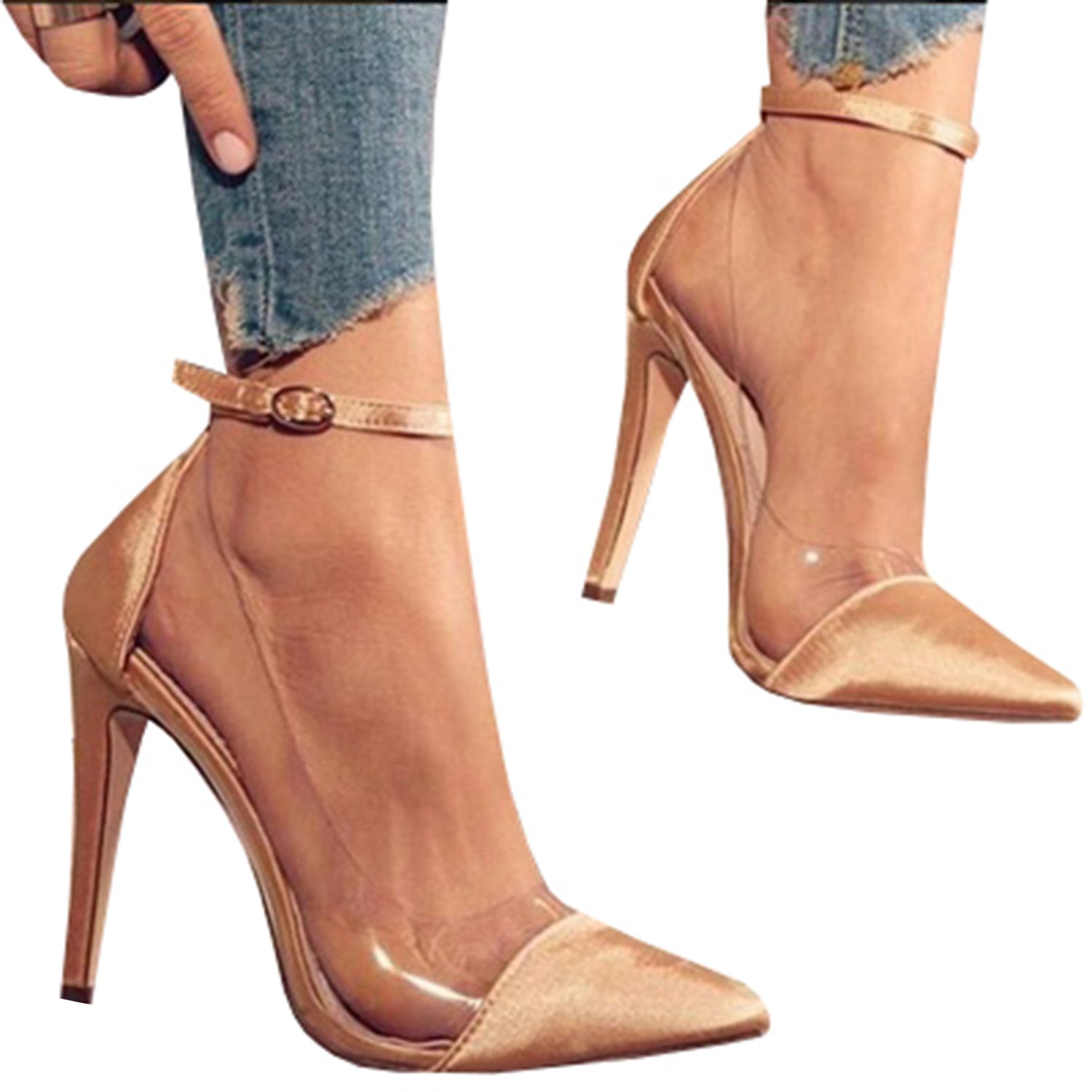 cfe0c818b5 Amazon.com | Syktkmx Womens Clear Pointed Toe Ankle Strap Stiletto Heels  Thin High Heel Pumps Shoes | Pumps