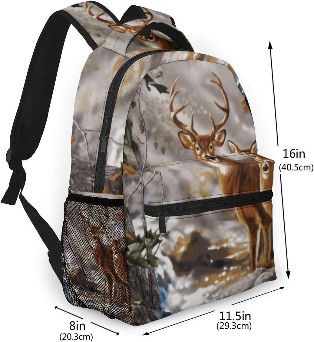 Deer By The Stream Durable Kids Back To School Backpack Polyester Book Bag For Boys Girls Adults