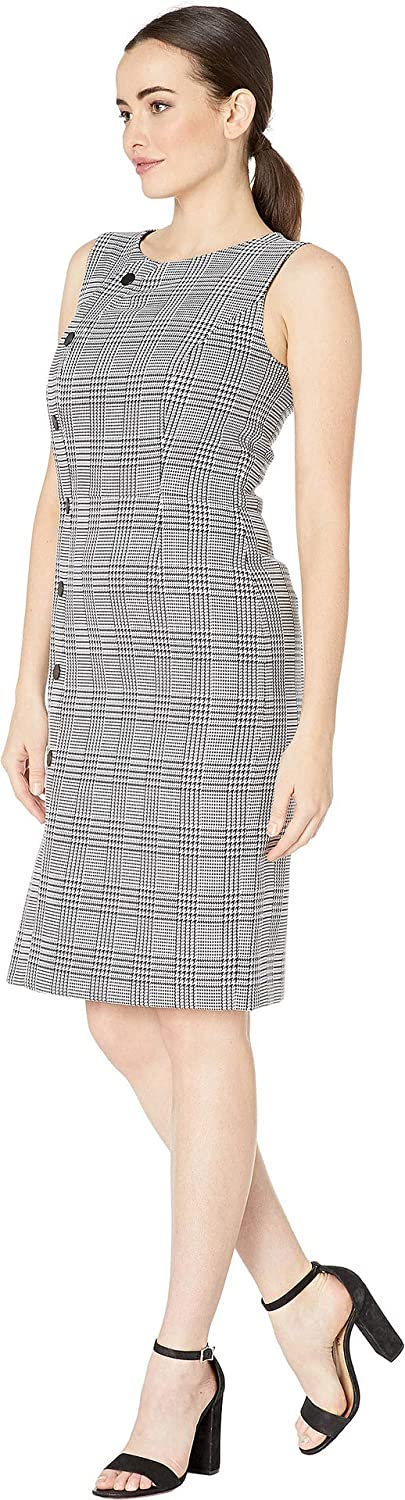 3a5a602c4b74d Tahari by ASL Women's Sleevless Plaid Sheath Dress with Side Button Detail  at Amazon Women's Clothing store: