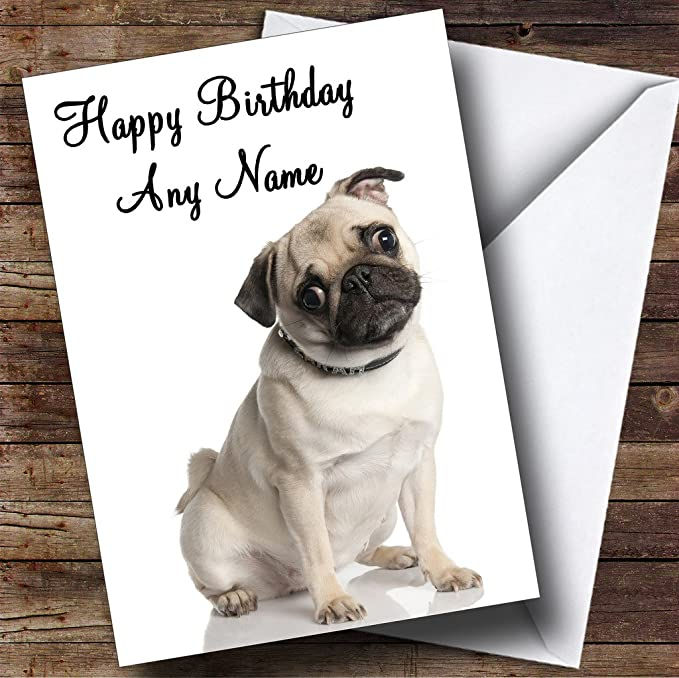 Pack of 12 Personalised Pug Birthday Party Invite Invitation