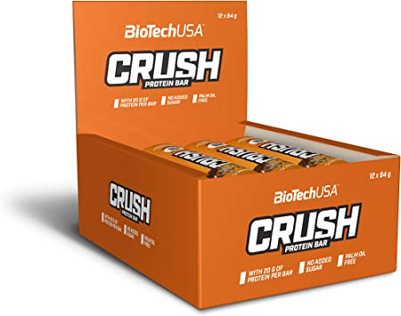 BioTechUSA Crush Bar Barrita alta en proteínas con cobertura de chocolate crujiente y sin azúcar añadido, 12 * 64 g, Chocolate-Mantequilla de ...