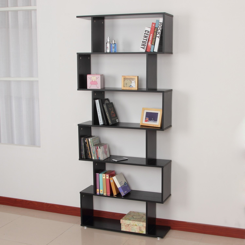 HOMCOM Estanteria Libreria 6 Estantes Madera Forma S 80x25x192cm Estantes Color Negro: Amazon.es: Hogar