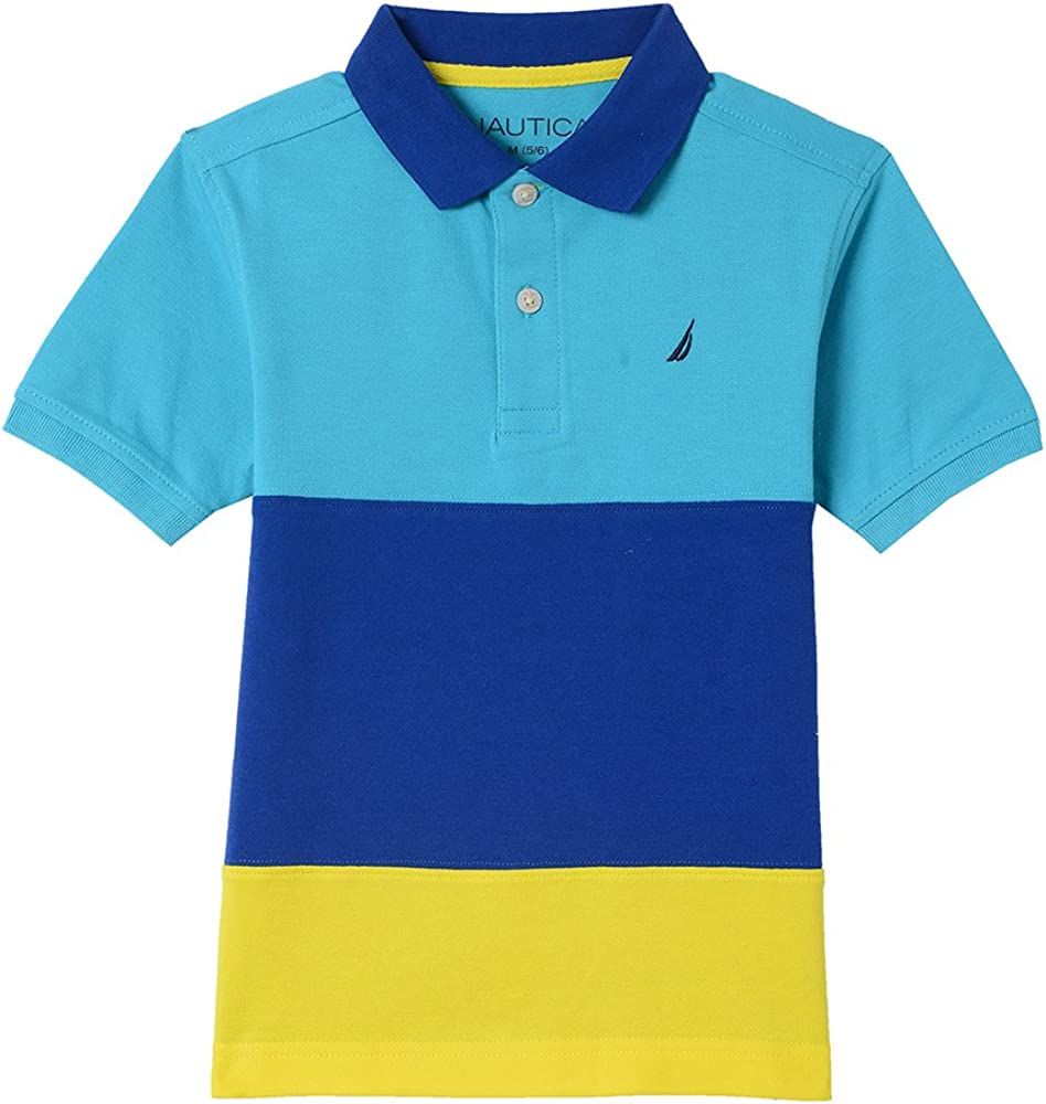 Nautica Varones Short Sleeve Colorblock Polo with Stretch Manga ...