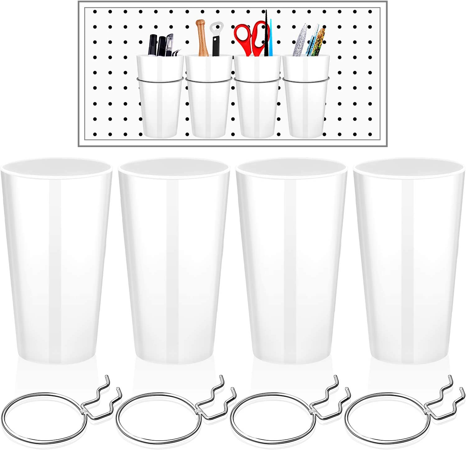 Ring Style Pegboard Accessories with Pegboard Cups Holder Accessories Organizing for Shed Garage Workbench Craft Room Laundry Room or Kitchen 4 Sets Pegboard Bins with Rings Clear