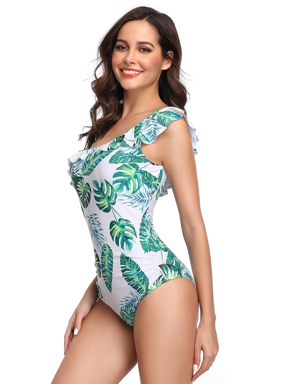 LALAVAVA Women One Piece Swimsuit Cute Ruffle Monokini Deep V Bathing Suit